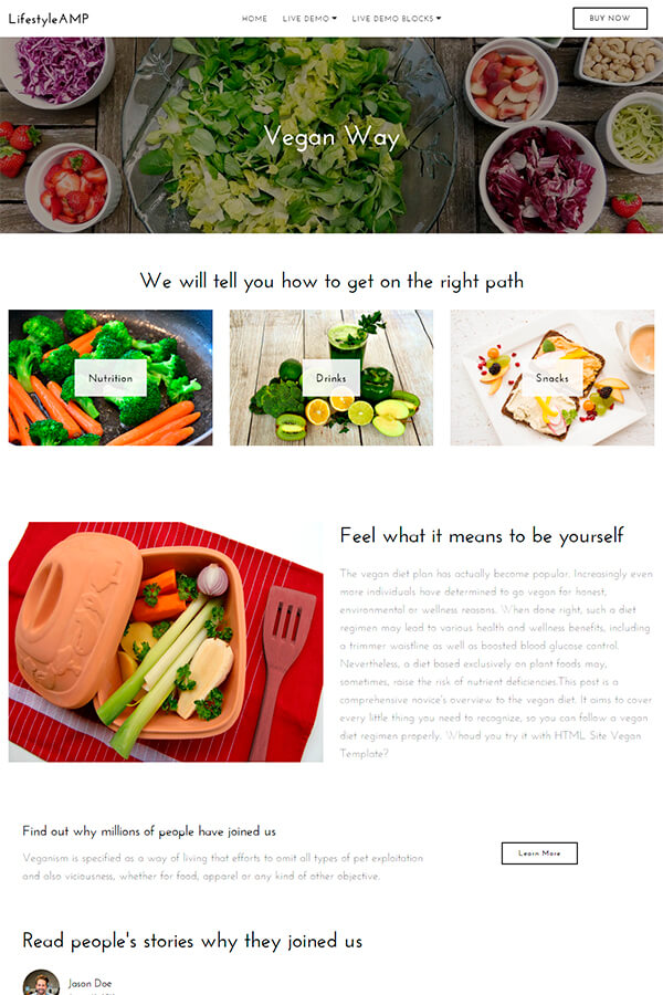 Vegan Web Page Template