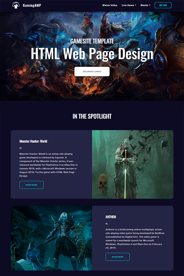 HTML Gaming Page Design