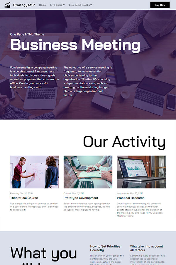 One Page Business HTML Theme
