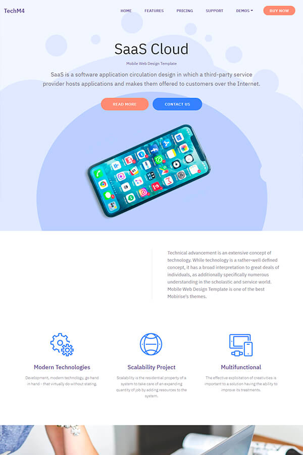 SaaS Cloud Mobile Web Template