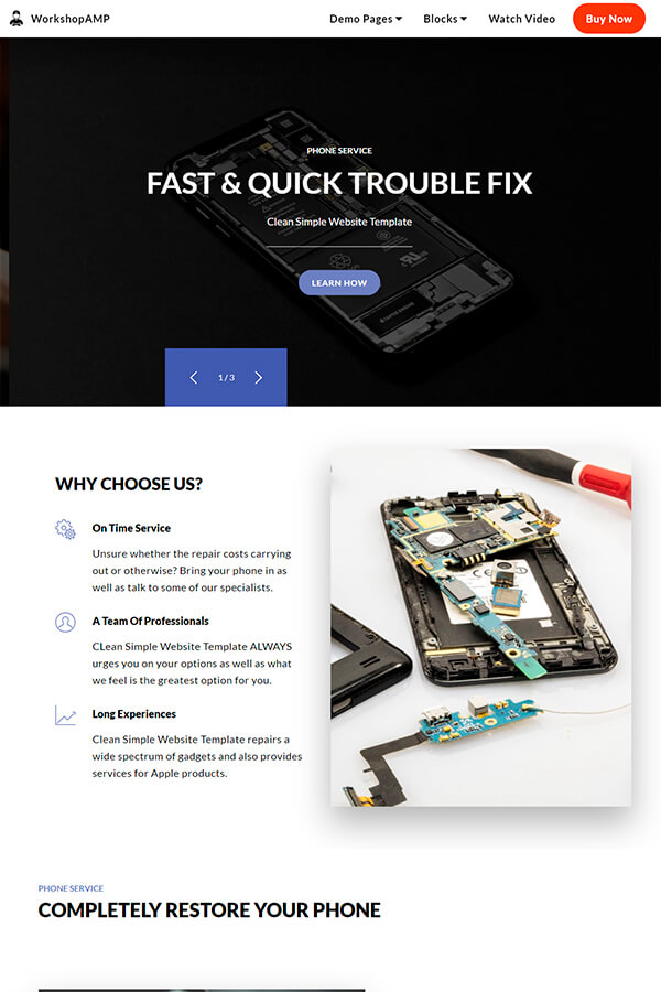 Simple Phone Repair HTML Template